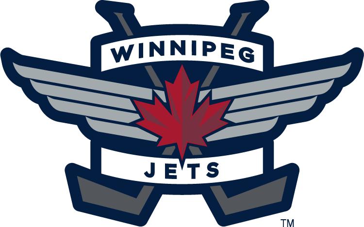 Winnipeg Jets Logo Alternate Logo (2011/12-Pres) - Red maple leaf on an air force badge with crossed hockey sticks SportsLogos.Net