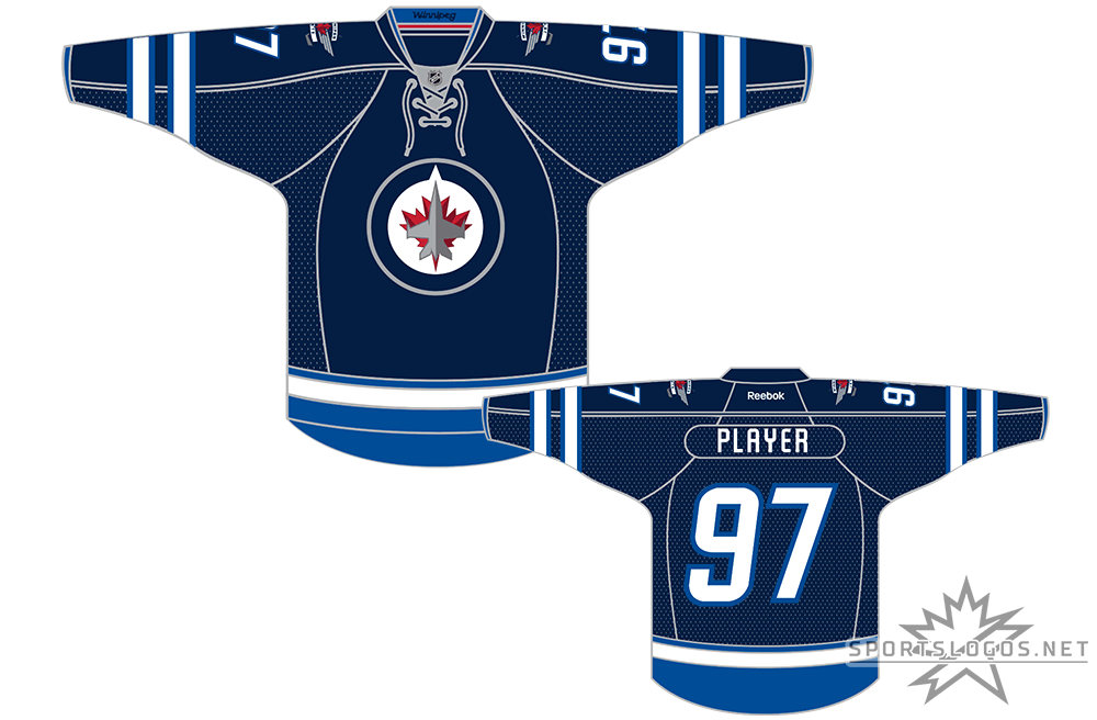Winnipeg Jets Uniform Dark Uniform (2011/12-2016/17) - When the NHL returned to Winnipeg after a 15 year absence in 2011-12 they did so wearing this navy blue (officially Polar Night Blue) jersey with lighter (Aviator) blue striping for home games. The Jets new primary logo featuring a CF-18 Hornet jet flying over a two-toned maple leaf, the alternate logo shown on the shoulders. SportsLogos.Net