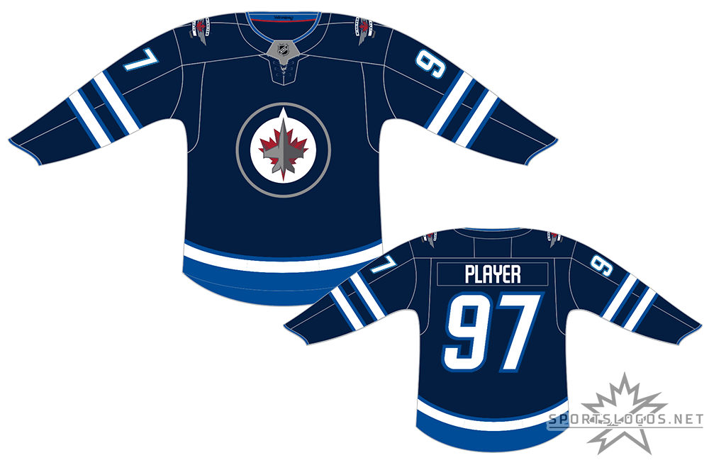 Winnipeg Jets Uniform Dark Uniform (2017/18-Pres) - In 2017-18 the NHL changed their uniform supplier from Reebok to Adidas, resulting in the new Adidas ADIZERO jersey style. Their home uniform design, a navy blue jersey (officially Polar Night Blue) with lighter (Aviator) blue striping with the Jets primary logo featuring a CF-18 Hornet jet flying over a two-toned maple leaf remained largely the same just adjusted to fit the new jersey cut. SportsLogos.Net