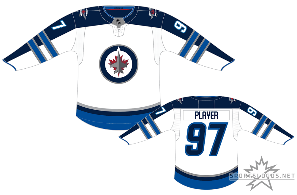 Winnipeg Jets Uniform Light Uniform (2017/18-Pres) - In 2017-18 the NHL changed their uniform supplier from Reebok to Adidas, resulting in the new Adidas ADIZERO jersey style. Their road uniform design, a white jersey featuring navy (officially Polar Night Blue) arms with lighter (Aviator) blue striping with the Jets primary logo featuring a CF-18 Hornet jet flying over a two-toned maple leaf remained largely the same just adjusted to fit the new jersey cut. SportsLogos.Net