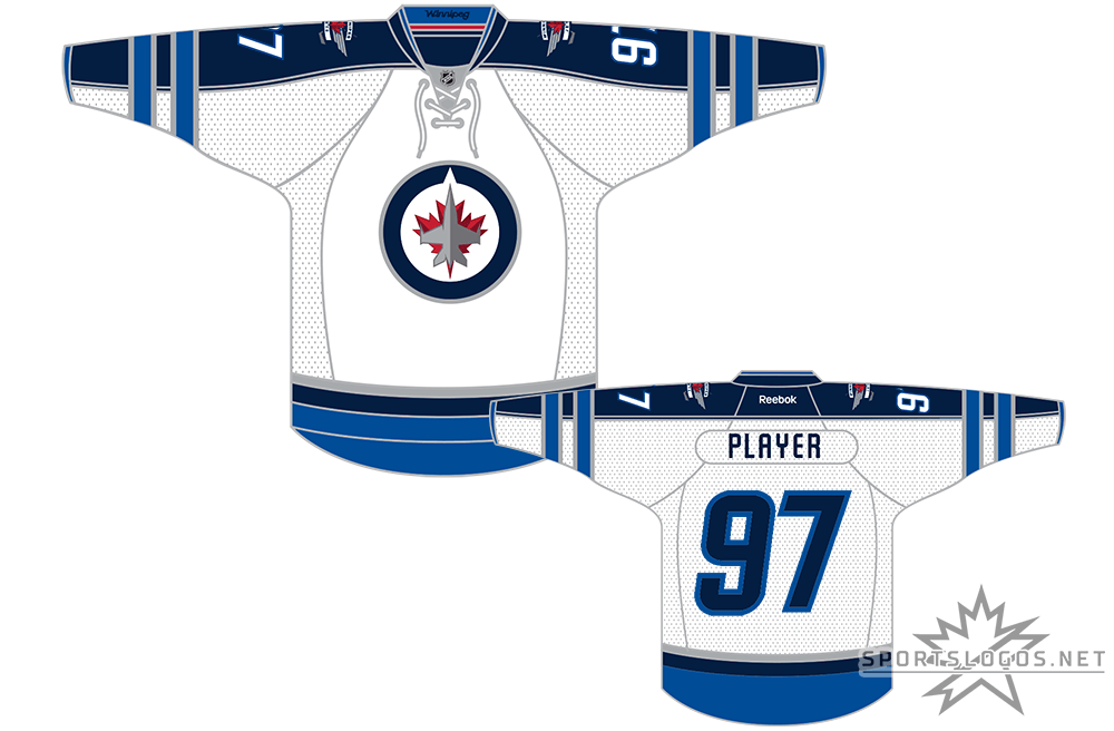 Winnipeg Jets Uniform Light Uniform (2011/12-2016/17) - When the NHL returned to Winnipeg after a 15 year absence in 2011-12 they did so wearing this white jersey featuring navy (officially Polar Night Blue) arms with lighter (Aviator) blue striping during road games. The Jets new primary logo featuring a CF-18 Hornet jet flying over a two-toned maple leaf, the alternate logo shown on the shoulders. SportsLogos.Net