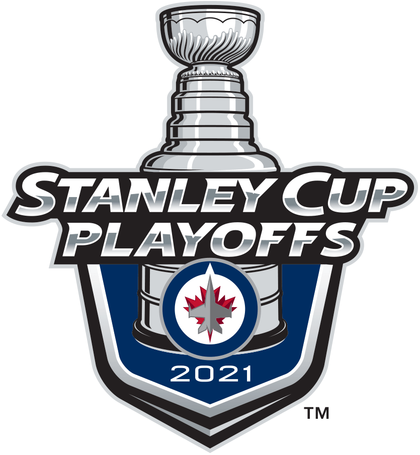 Winnipeg Jets Logo Event Logo (2020/21) - The Winnipeg Jets 2021 Stanley Cup Playoffs logo features the Jets logo on a blue shield with STANLEY CUP PLAYOFFS written above in silver and 2021 below in white. A depiction of the top-half of the Stanley Cup can be seen above the shield. This logo is used by the Winnipeg Jets on various materials throughout their participation in the 2021 NHL Stanley Cup Playoffs. SportsLogos.Net