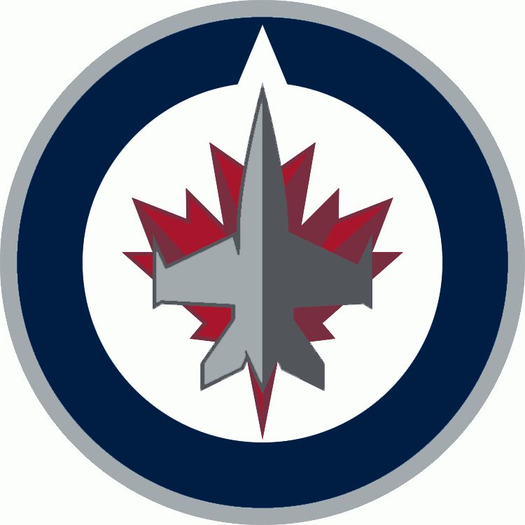 Winnipeg Jets Logo Primary Logo (2011/12-Pres) - A grey jet flying north inside a blue and grey circle on a red maple leaf.  Notch in blue circle indicates north. SportsLogos.Net