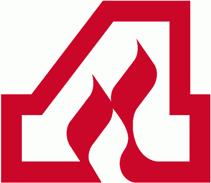 Atlanta Flames Logo Primary Logo (1972/73-1979/80) - A red and white A with a red flame in the middle of the A SportsLogos.Net