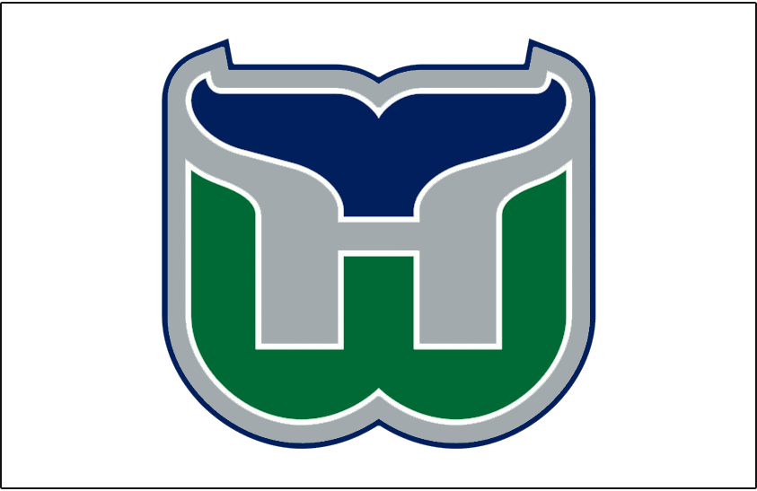 Hartford Whalers Logo Jersey Logo (1992/93-1996/97) - Green W outlined in white with navy blue whale tail above, H for Hartford formed in between the two in silver. Worn on Hartford Whalers home white jersey from 1992-93 until their final season in 1996-97 SportsLogos.Net