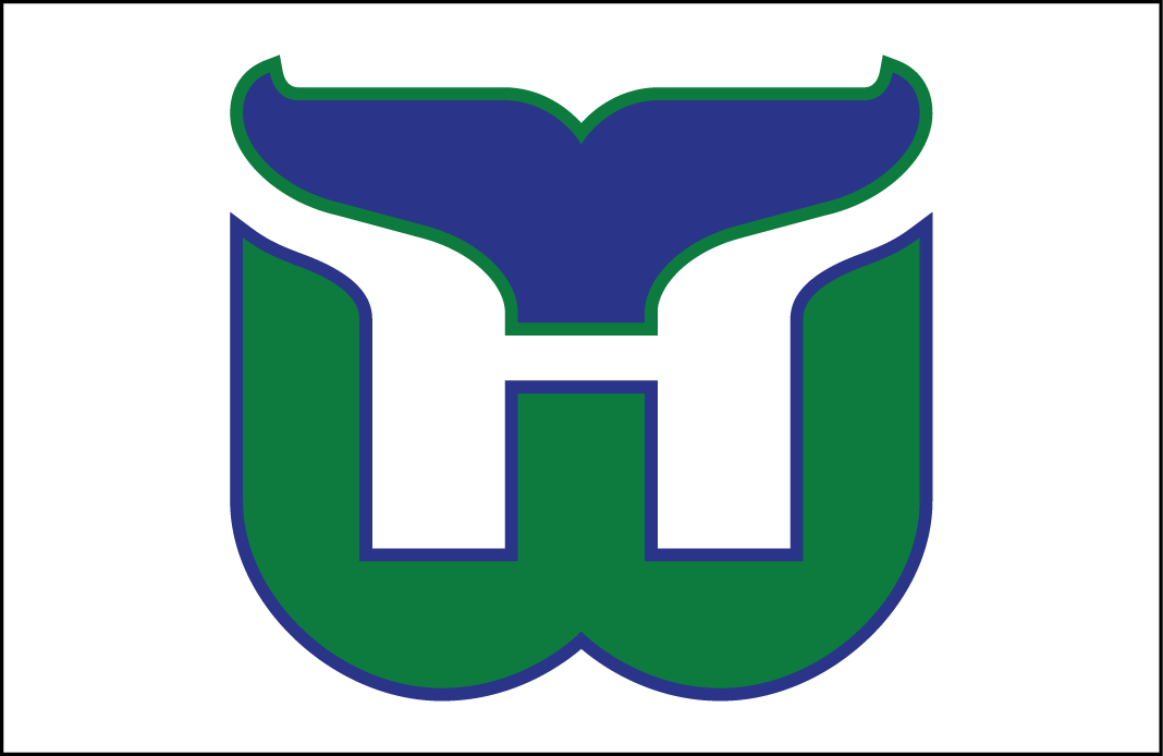 Hartford Whalers Logo Jersey Logo (1979/80-1991/92) - Green W with blue whale tail, an H for Hartford formed in white between them. Worn on Hartford Whalers home white jersey from 1979-80 through 1991-92 SportsLogos.Net