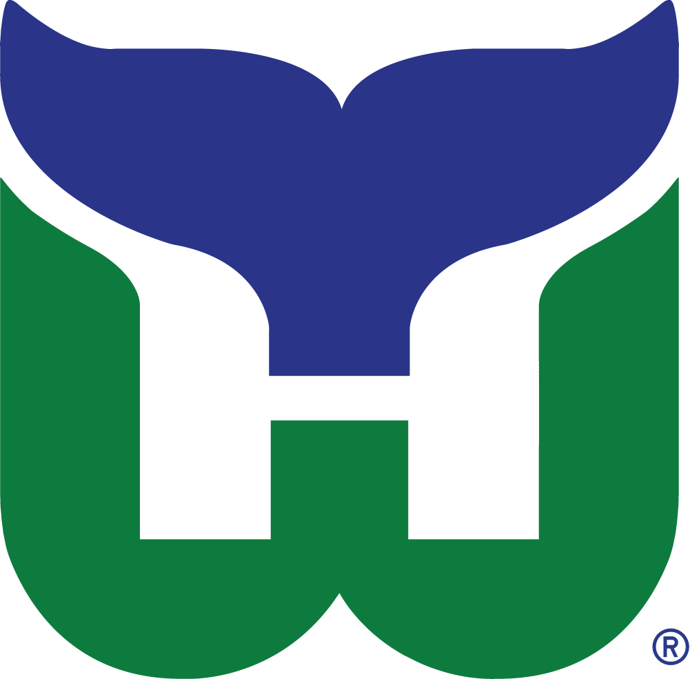 Hartford Whalers Logo Primary Logo (1979/80-1991/92) - A green W with a blue whale tail above it forming an H in white SportsLogos.Net