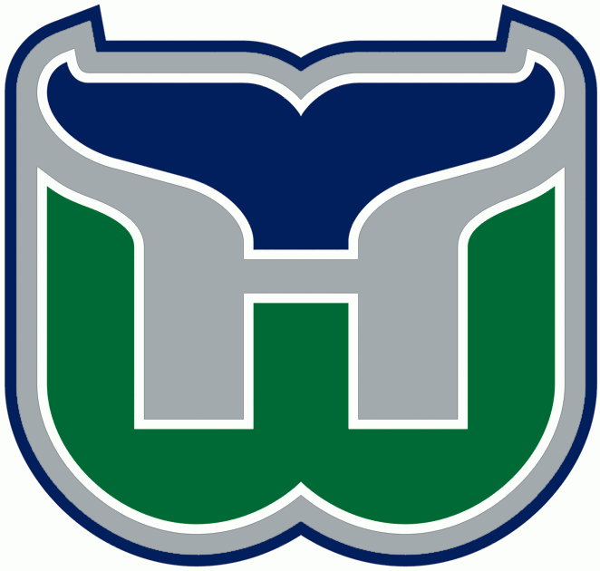 Hartford Whalers Logo Primary Logo (1992/93-1996/97) - A green W with a blue whale tail above it forming an H in grey SportsLogos.Net