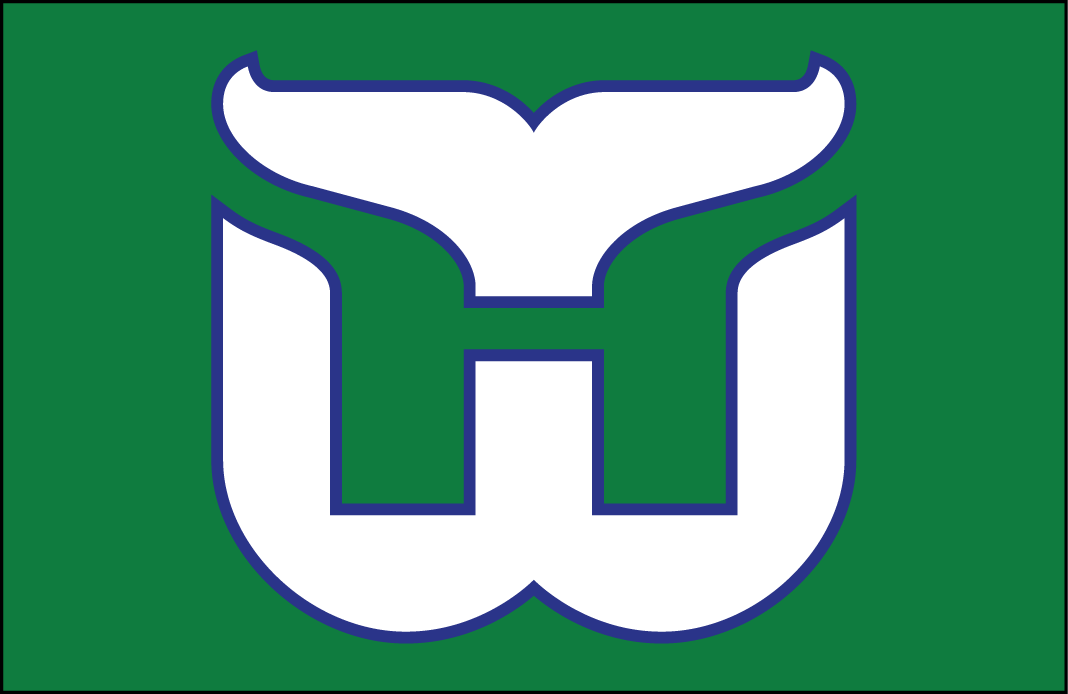 Hartford Whalers Logo Jersey Logo (1979/80-1991/92) - A white (with blue trim) W with whale tail above forming an H in green between them. Worn on green Hartford Whalers road jersey from 1979-80 through 1991-92 SportsLogos.Net