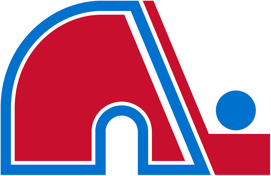 Quebec Nordiques Logo Primary Logo (1985/86-1994/95) - A red N next to a hockey stick with a blue hockey puck, formed together as the letter N as well as an igloo  SportsLogos.Net