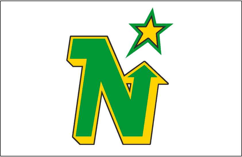 Minnesota North Stars Logo Jersey Logo (1981/82-1990/91) - Green N with a yellow drop shadow and black outline pointing to a yellow and green star, worn on Minnesota North Stars white home jersey from 1981-82 through 1990-91 SportsLogos.Net