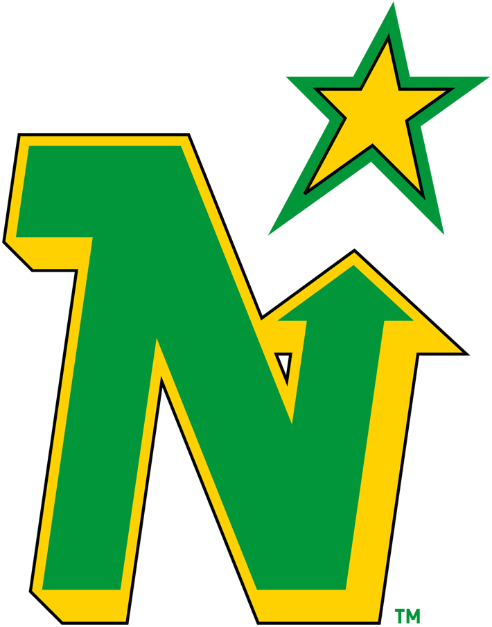Minnesota North Stars Logo Primary Logo (1985/86-1990/91) - Green and black beveled N with an arrow pointing north to a yellow star SportsLogos.Net
