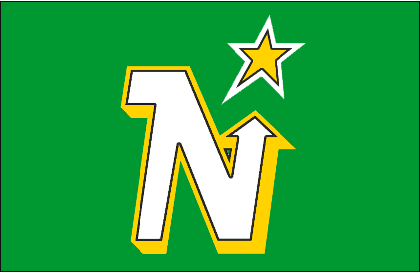 Minnesota North Stars Logo Jersey Logo (1988/89-1990/91) - A white N with yellow bevel and black outline on green pointing to a yellow, black, and white star. Worn on Minnesota North Stars road uniform from 1988-89 through 1990-91 SportsLogos.Net