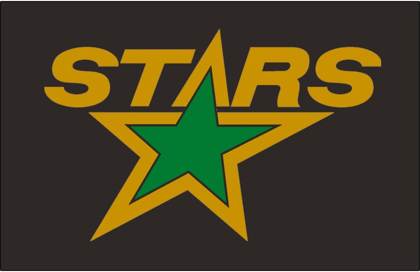 Minnesota North Stars Logo Jersey Logo (1991/92-1992/93) - STARS in gold above a green star, worn on Minnesota North Stars road jersey in 1991-91 and 1992-93 seasons SportsLogos.Net