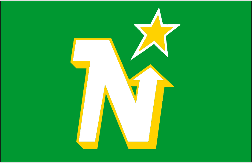 Minnesota North Stars Logo Jersey Logo (1975/76-1987/88) - White N with a yellow drop shadow pointing to a yellow and white star, worn on Minnesota North Stars road green jersey from 1975-76 through 1987-88 SportsLogos.Net