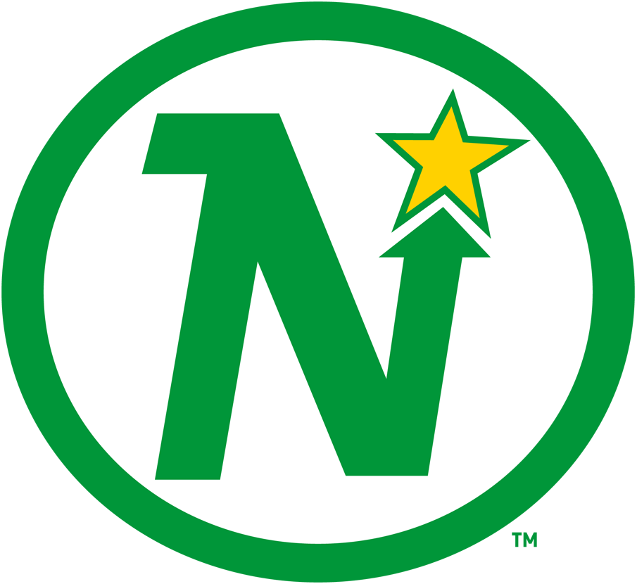 Minnesota North Stars Logo Primary Logo (1967/68-1984/85) - Green N with an arrow pointing up in the corner to a yellow star within a green oval SportsLogos.Net