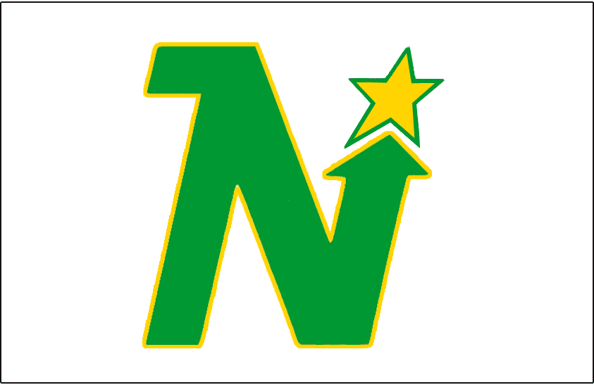 Minnesota North Stars Logo Jersey Logo (1967/68-1974/75) - Green N outlined in yellow pointing toward a yellow and green star. Worn on Minnesota North Stars white uniform from 1967-68 through 1974-75 SportsLogos.Net