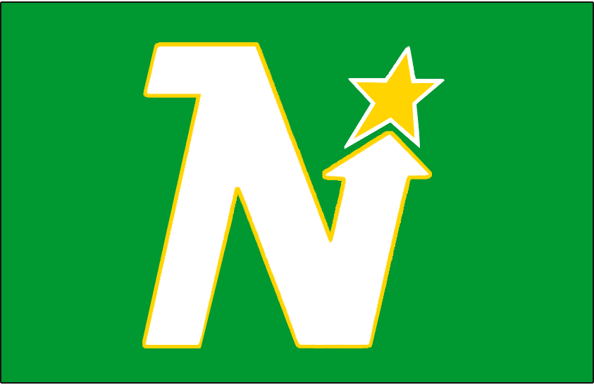 Minnesota North Stars Logo Jersey Logo (1967/68-1974/75) - White N outlined in yellow pointing toward a yellow and white star. Worn on Minnesota North Stars green uniform from 1967-68 through 1974-75 SportsLogos.Net