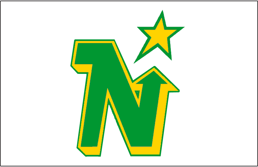 Minnesota North Stars Logo Jersey Logo (1979/80-1980/81) - Green N with a yellow drop shadow and green outline pointing to a yellow and green star, worn on Minnesota North Stars white home jersey in 1979-80 and 1980-81 seasons SportsLogos.Net