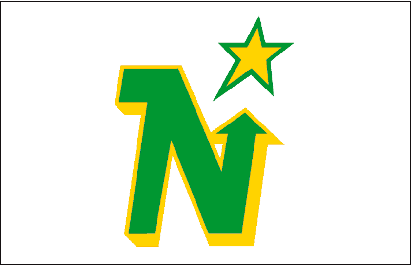 Minnesota North Stars Logo Jersey Logo (1975/76-1978/79) - Green N with a yellow drop shadow pointing to a yellow and green star, worn on Minnesota North Stars white home jersey from 1975-76 through 1978-79 SportsLogos.Net