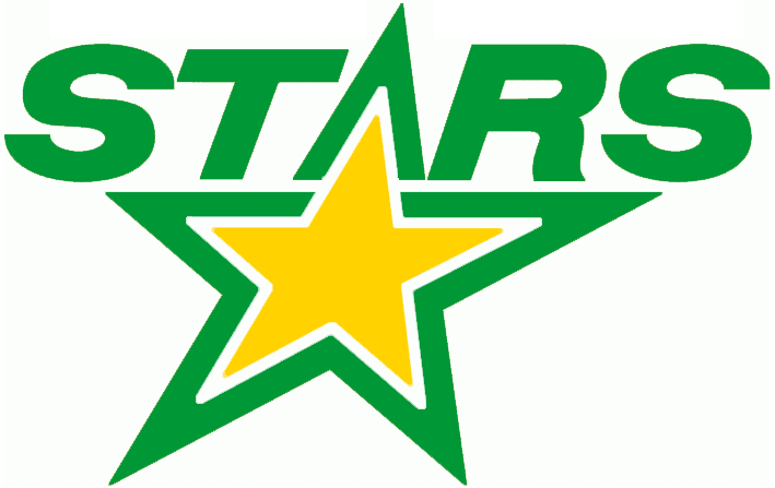 Minnesota North Stars Logo Alternate Logo (1990/91) - STARS in green above a yellow star, used on the ice surface during the 1990-91 season SportsLogos.Net