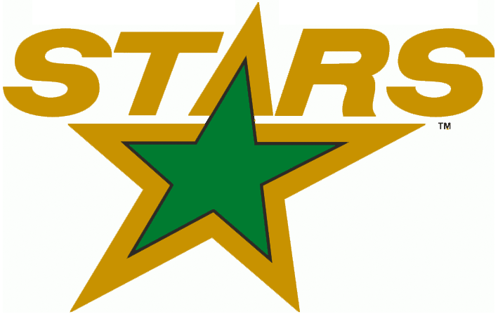 Minnesota North Stars Logo Primary Logo (1991/92-1992/93) - STARS in gold above a green star SportsLogos.Net