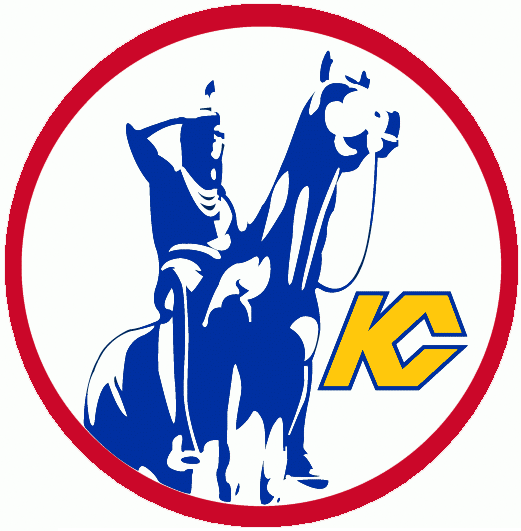 Kansas City Scouts Logo Primary Logo (1974/75-1975/76) - Kansas City's the Scout statue in a red circle SportsLogos.Net