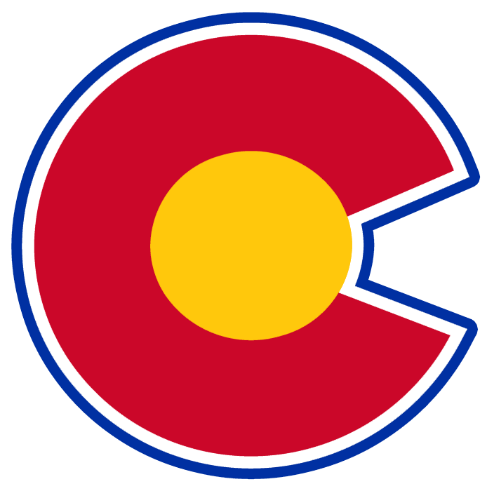 Colorado Rockies Logo Alternate Logo (1976/77-1981/82) - A red C outlined in blue with a yellow core SportsLogos.Net