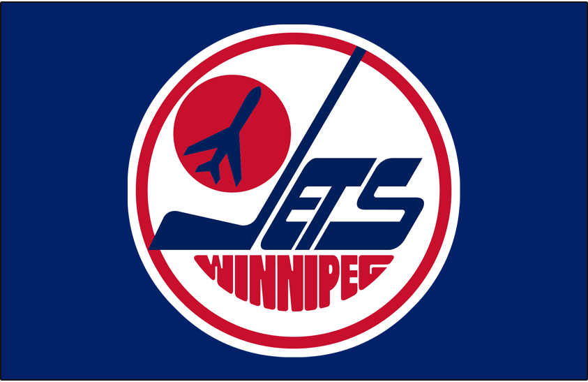 Winnipeg Jets Logo Primary Dark Logo (1979/80-1989/90) - A jet taking off on a red circle inside a white circle with Jets in blue and Winnipeg below in red SportsLogos.Net