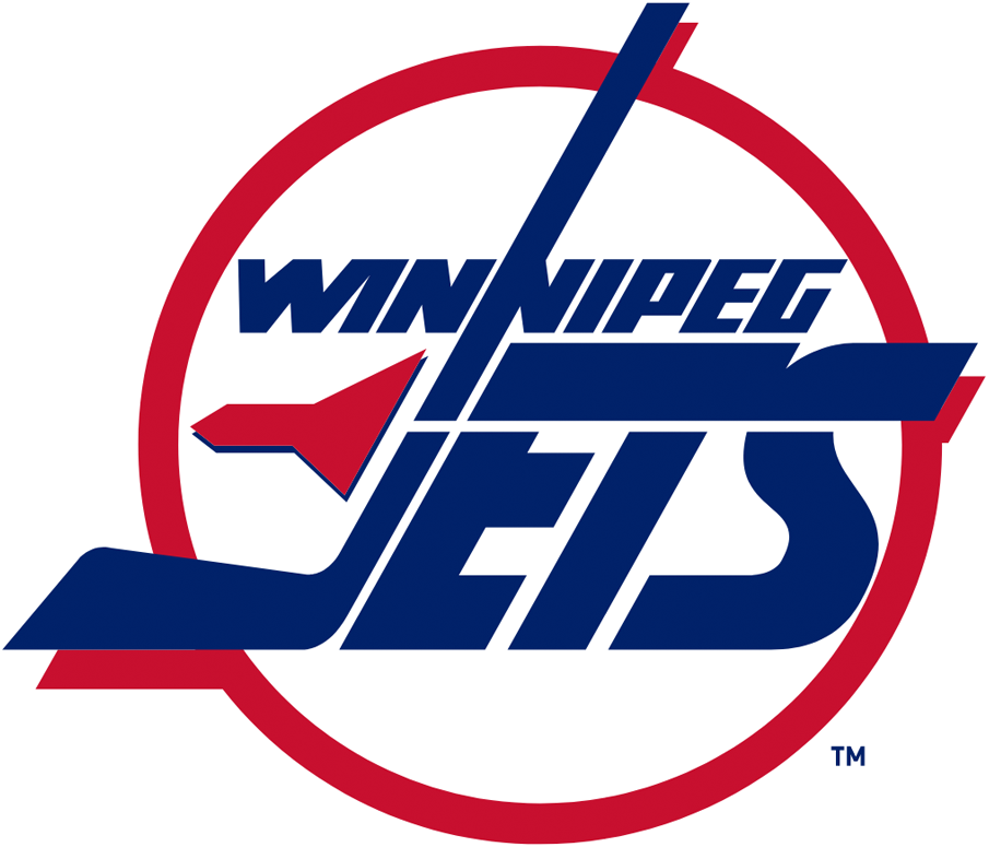 Winnipeg Jets Logo Primary Logo (1990/91-1995/96) - Jets in blue inside red and white circle with red jet flying next to the J SportsLogos.Net