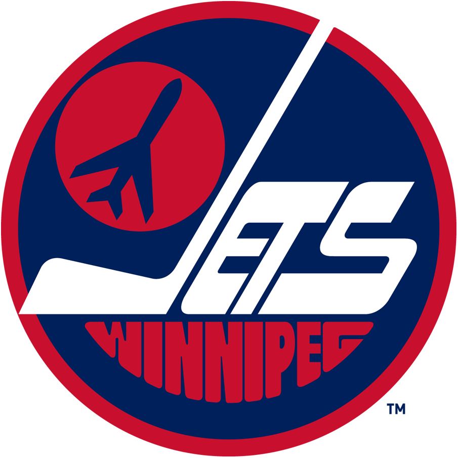 Winnipeg Jets Logo Primary Logo (1979/80-1989/90) - A jet taking off on a red circle inside a blue circle with Jets in white and Winnipeg below in red SportsLogos.Net