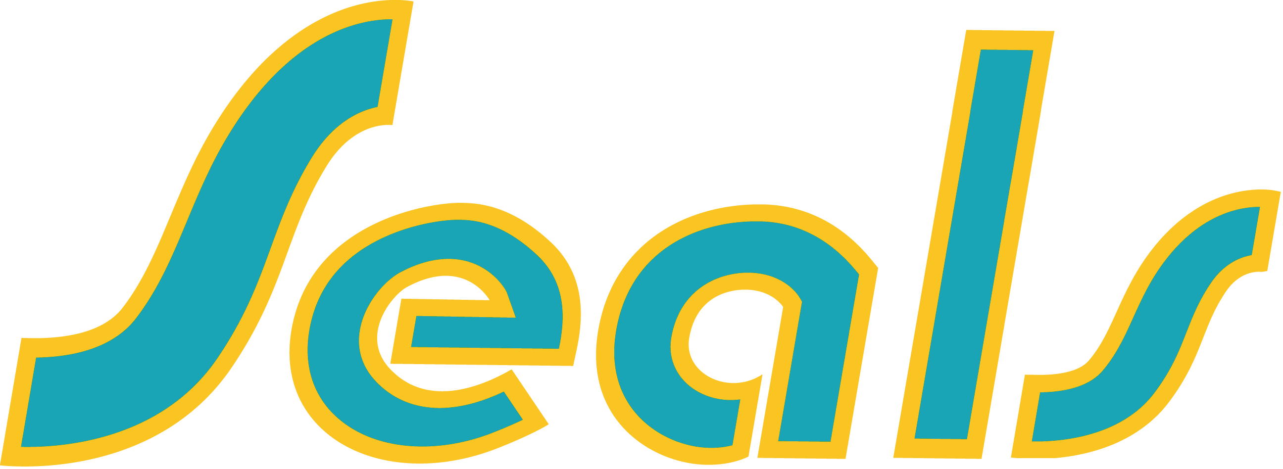 California Golden Seals Logo Primary Logo (1974/75-1975/76) - Seals in teal with yellow outline SportsLogos.Net