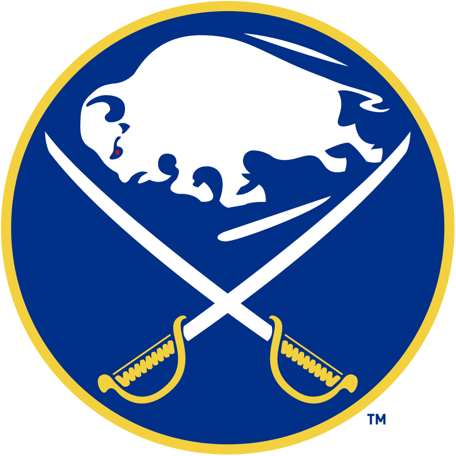 Buffalo Sabres Logo Primary Logo (1970/71-1995/96) - A blue circle with a buffalo in white between two sabres crossed SportsLogos.Net