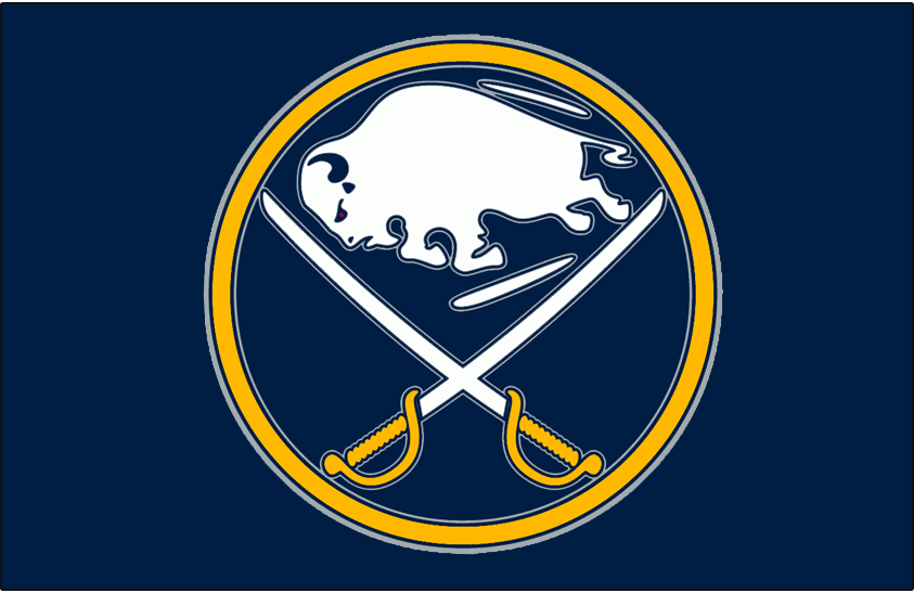 Buffalo Sabres Logo Jersey Logo (2008/09-2019/20) - A leaping buffalo in between two crossed sabres on a blue and yellow circle - worn on the Buffalo Sabres blue alternate jersey from 2008-09 to 2009-10 and then promoted to the home jersey starting in the 2010-11 season SportsLogos.Net