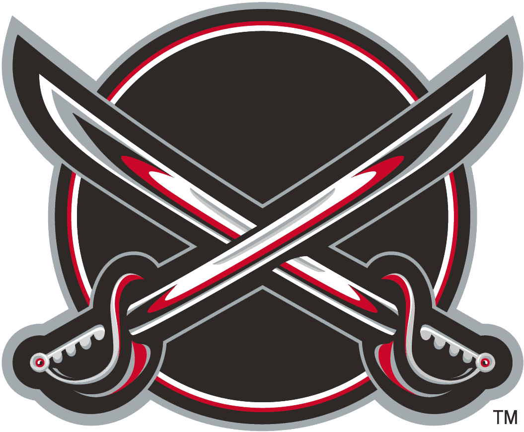 Buffalo Sabres Logo Alternate Logo (2000/01-2005/06) - A black circle with two silver swords crossed over it SportsLogos.Net