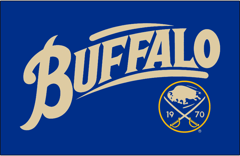 Buffalo Sabres Logo Jersey Logo (2010/11-2011/12) - Buffalo wordmark in beige above original primary logo with establishment year inside. Worn on front of Buffalo Sabres blue alternate uniforms during the 2010-11 and 2011-12 seasons SportsLogos.Net