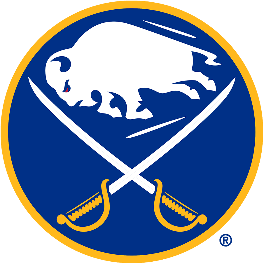 Buffalo Sabres Logo Primary Logo (2020/21-Pres) - The Buffalo Sabres logo features a white buffalo, a symbol of good luck, leaping in between two crossed sabres on a royal blue circle trimmed in gold. The Sabres first adopted this style of logo for their expansion 1970-71 season, the version seen here was modified for the 2020-21 season. Differences between this and the original include the elimination of the ear from the buffalo as well more edges on each of its legs and hooves. SportsLogos.Net