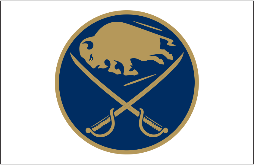 Buffalo Sabres Logo Jersey Logo (2019/20) - Sabres primary logo in blue and gold, worn on front of Sabres third jersey added to celebrate their 50th anniversary season SportsLogos.Net