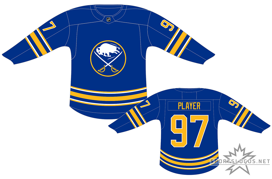 Buffalo Sabres Uniform Dark Uniform (2020/21-Pres) - At home, the Buffalo Sabres wear a royal blue jersey with three large gold horizontal stripes along with three smaller white stripes on each sleeve and around the waist. The chest features the primary Sabres logo of a white buffalo leaping between two sabre swords on a blue circle. Player name and number are gold with numbers also trimmed in white. The Sabres first adopted this style for the 2020-21 NHL season. SportsLogos.Net