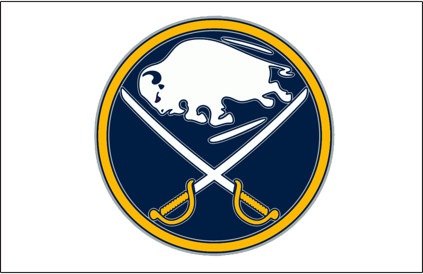 Buffalo Sabres Logo Jersey Logo (2010/11-2019/20) - A leaping buffalo in between two crossed sabres on a blue and yellow circle - worn on the Buffalo Sabres white road jersey starting in the 2010-11 season SportsLogos.Net