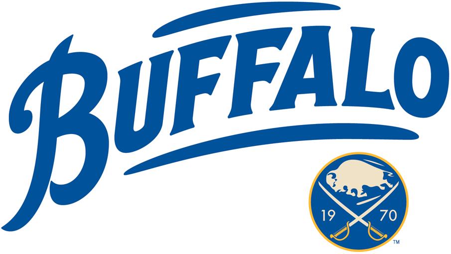 Buffalo Sabres Logo Alternate Logo (2010/11-2011/12) - Buffalo in blue with vintage logo in bottom right SportsLogos.Net