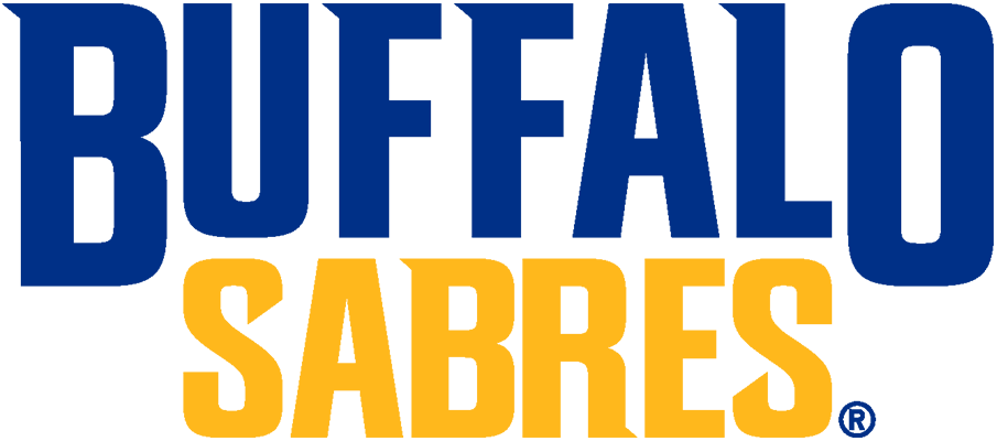 Buffalo Sabres Logo Wordmark Logo (2020/21-Pres) - The Buffalo Sabres quietly updated their wordmark logos for the 2020-21 season just prior to their first game. The new logo showed the team name stacked vertically in the new royal blue and gold colour scheme, the serifs of the letters designed to mimic the angles and movement of the team\'s primary logo. SportsLogos.Net