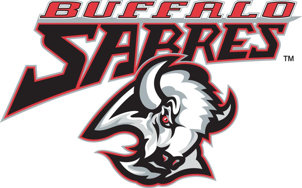Buffalo Sabres Logo Wordmark Logo (1996/97-2005/06) - Sabres primary logo with team wordmark above SportsLogos.Net