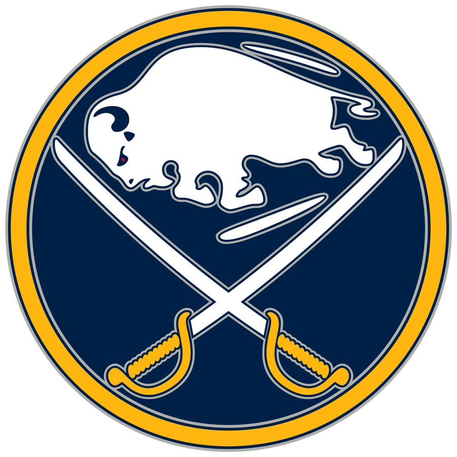 Buffalo Sabres Logo Alternate Logo (2008/09-2009/10) - A buffalo and crossed swords, inside a blue circle with silver outlines SportsLogos.Net