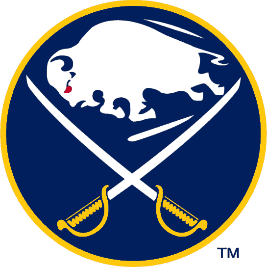 Buffalo Sabres Logo Throwback Logo (2006/07) - A blue circle with a buffalo in white between two sabres crossed, worn on the Sabres throwback jersey during the 2006-07 season SportsLogos.Net
