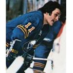 Buffalo Sabres (1976) Gilbert Perreault wearing Buffalo Sabres road blue uniform during the 1975/76 season