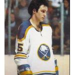 Buffalo Sabres (1978) Lee Fogolin wearing Buffalo Sabres home white uniform during 1977/78 season