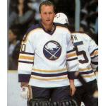 Buffalo Sabres (1988) Tom Barrasso wearing Buffalo Sabres home uniform during 1987-88 season