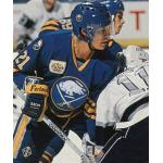 Buffalo Sabres (1990) Christian Ruuttu wearing Buffalo Sabres road uniform with Sabres 20th anniversary patch during 1989-90 season