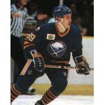 Buffalo Sabres (1990) Alexander Mogilny wearing Buffalo Sabres road uniform with Sabres 20th anniversary patch during 1989-90 season
